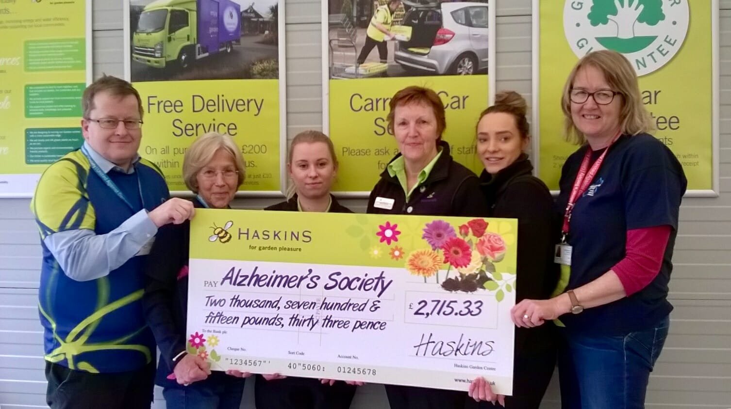 Haskins in Snowhill presented Alzheimer's Society