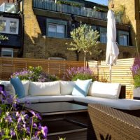 Weather Exposed Garden Design London seating with wind breaks 2